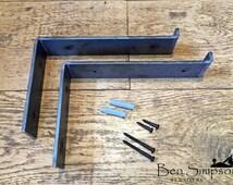 Metal Shelf Brackets Industrial Rustic Chunky For Solid Wood Shelves (Set of 2) OLB