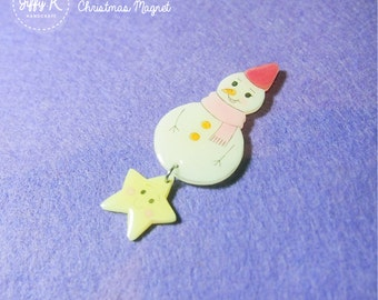 SALE* Hand drawn shrink plastic dangling magnet - SNOWMAN (4 different designs) {Ready to Dispatch}