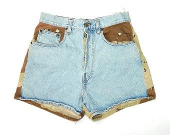 Vintage Camo Denim Shorts