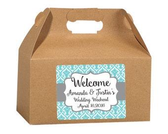 Gable Box Labels, Damask Design, Elegant Wedding Labels, Custom Wedding, Favor Box Stickers