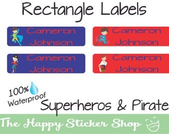 Kids Labels Waterproof Stickers: Pirate Hero Rectangle Mini,Skinny,Large, Personalized for bottles, sippy cups, lunch boxes, daycare, school