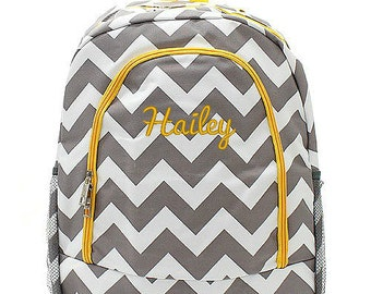 Personalized Backpack Monogrammed Bookbag Chevron Gray Yellow  Large Canvas Kids Tote School Bag Embroidered Monogram Name