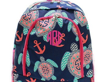 Personalized Turtle Backpack Monogrammed Bookbag Pink Navy Blue Anchor Mint Girls Large Kids Tote School Bag Embroidered Monogram Name