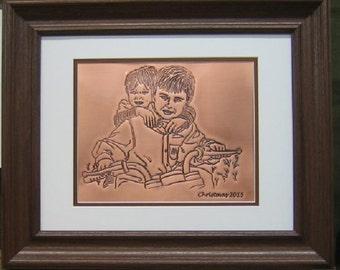 Custom copper anniversary gift, custom portrait of 2 images engraved on copper, 7th anniversary gift