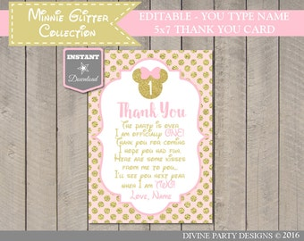 INSTANT DOWNLOAD Editable Glitter Mouse 5x7 Printable 1st Birthday Thank You Card / You Type Name / Glitter Mouse Collection / Item #2018