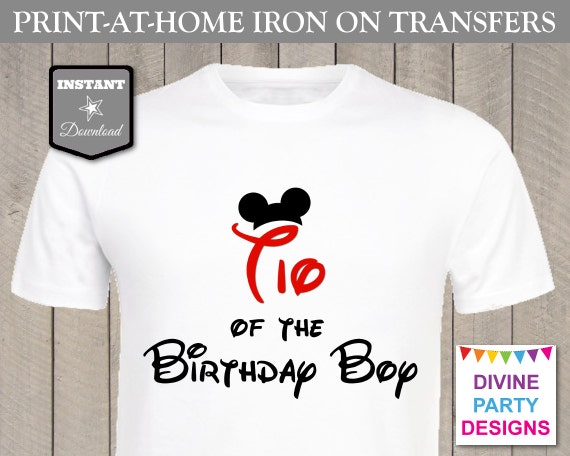 Instant download print at home mouse tio of the birthday for Instant t shirt printing