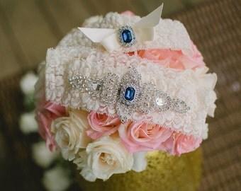 SALE - Best Seller - CHLOE II - Sapphire Blue Wedding Garter Set, Lace Garter, Rhinestone Crystal Bridal Garters, Something Blue