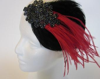 Grey Beaded Headpiece, gray  Annees 20, Headband mariage Gatsby Fascinator, 1920 Gatsby Headband, 1920 Headpiece, pewter