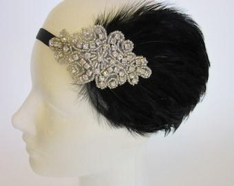 Black Feather Headband, Silver 1920s Flapper costume Halloween Daisy Buchanan , Roaring 20s, 1920s hair accessory, Vintage inspired