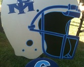 Football helmet personalized yard sign.  Support your child.  Painted with school colors & childs number.