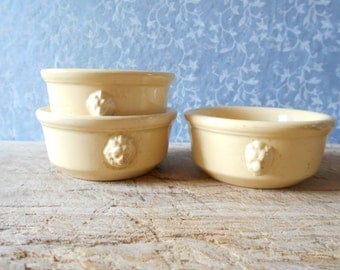 French antique ramekin dishes set of 3, Lunéville 1900's tableware. Shabby chic dishes with lion's heads.