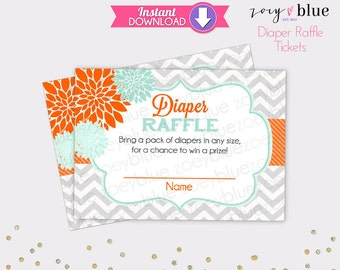 Floral Diaper Raffle Tickets - Orange Mint Chevron Girl Baby Shower Games Printable Diaper Raffle Ticket DIY Printable File INSTANT DOWNLOAD