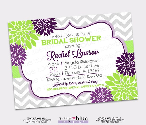 Purple Flower Bridal Shower Invitation : Purple green floral bridal shower invitation grey chevron dark