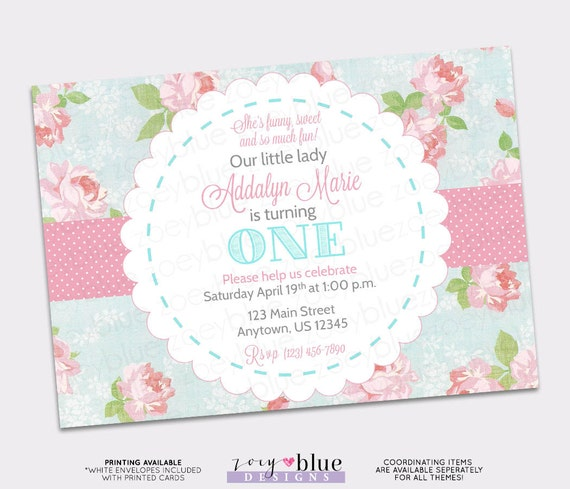 Shabby chic birthday invitation vintage floral pink blue girl first il570xn filmwisefo