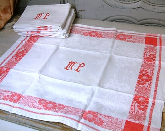 Set of 8 french vintage red and white monogram napkins. French country red work napkins. Monogram initials MP