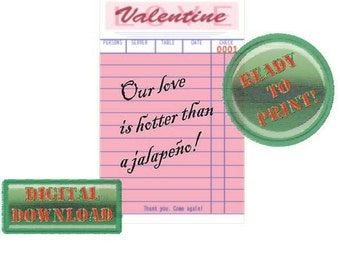 "Valentine Printable Diner Guest Check Card ""Our love is hotter..."" Pink Party Tag Love Rockabilly Retro Holiday Gift Vintage Style Ephemera"