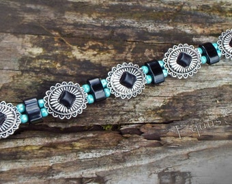 Southwestern concho,Onyx and seed bead horse browband