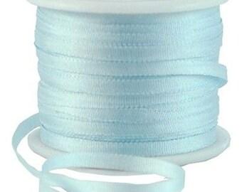 11 Yds (10 M) Embroidery Silk Ribbon 100% Silk 2mm - Pale Blue - By Threadart