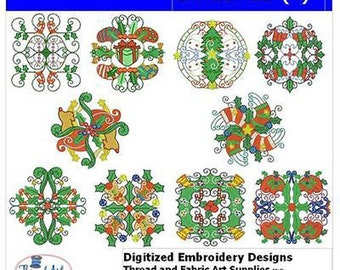 Embroidery Design CD - Christmas(4) - 10 Designs - 9 Formats - Threadart