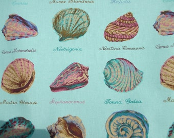 Teal blue green screen print vintage House n Home assortment of conch shell varieties good grade cotton upholstery fabric