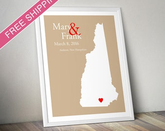 Custom Wedding Gift : Personalized Wedding Location and State Map Print - New Hampshire - Engagement Gift, Wedding Guest Book