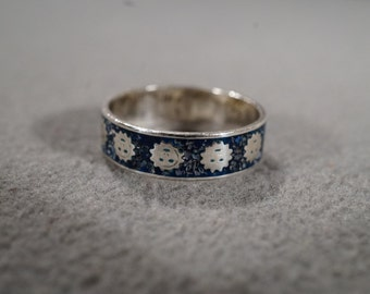 Vintage Sterling Silver Face Starburst Enameled Eternity Wedding Band Ring 5.5 Jewelry   KW216