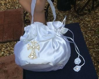 Satin Money Bag, Religious Money Purse, Baptism Money Purse, Confirmation Money Bag, Religious Wedding Purse