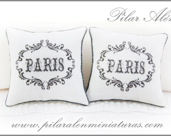 Vintage pillow for dollhouse, 12th scale pillows vintage Paris. One inch scale.