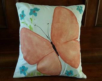 Hand Painted Peach Orange Butterfly  Pillow Cover