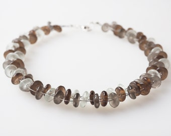 brown white necklace glass