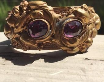 Antique Victorian Art Nouveau Cuff Bracelet