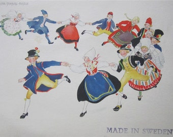 Original Aina Stenberg Masolle Artist Signed Postcard - Swedish Children In Traditional Costume At Play - Free Shipping