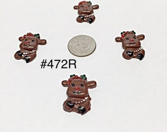 2/3/5 pc Whimsical Christmas Reindeer Resin Flat back Cabochon Hair Bow Center