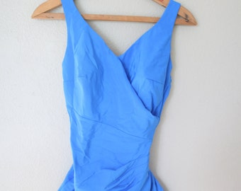 vintage 1960's bright blue ruched one piece swimsuit womens