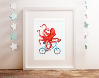Octopus on bicycle print, red octopus on bike print, cycling octopus print, 5 x 7, 8 x 10 and 11 x 14
