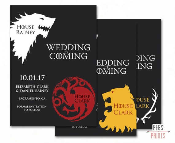 Geek Save the Date - Game of Thrones Save the Date - Printable Wedding Announcement - Game of Thrones Invitation