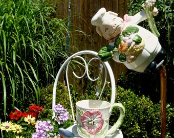 Chef Veggie Piggy - Whimsical Garden Decor