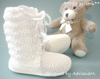 Crochet pattern- toddler lace boots with soles,all children sizes,street shoes,outdoor,kids,girl,footwear,laced up,rubber soles