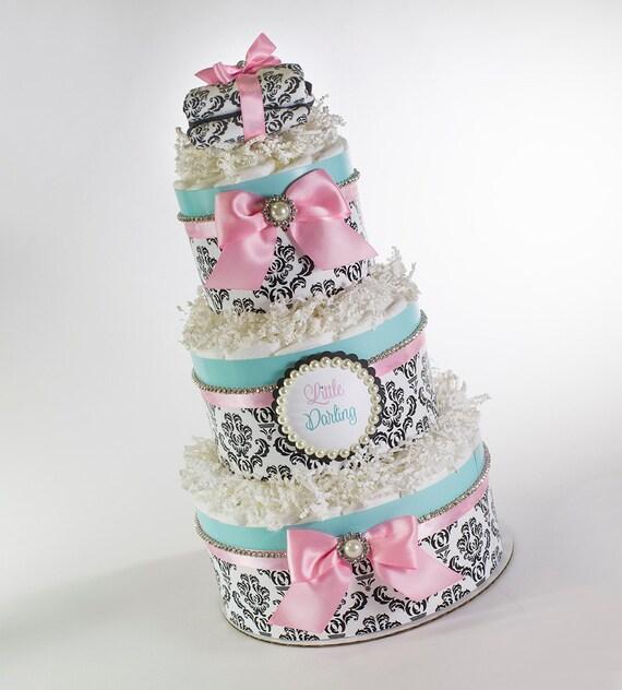 Diaper Cake - Diaper Cakes - Little Darling Diaper Cake - Baby Gift - Baby Shower Decor