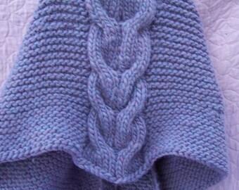 Chunky knit cable shawl, purple handknit shawl, purple cable shawl, thick handknit shawl, chunky crescent shawl, chunky knitwrap,