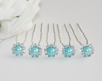5 bridal bead rhinestone hair pins turquoise