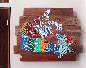 Red Barnboard Map of Canada Premium Industrial Art - Handmade Rustic License Plate Canada Map Decor