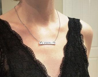VEGAN bar necklace - vegan gift spread awareness go vegan veganism promote life silver pewter horizontal bar