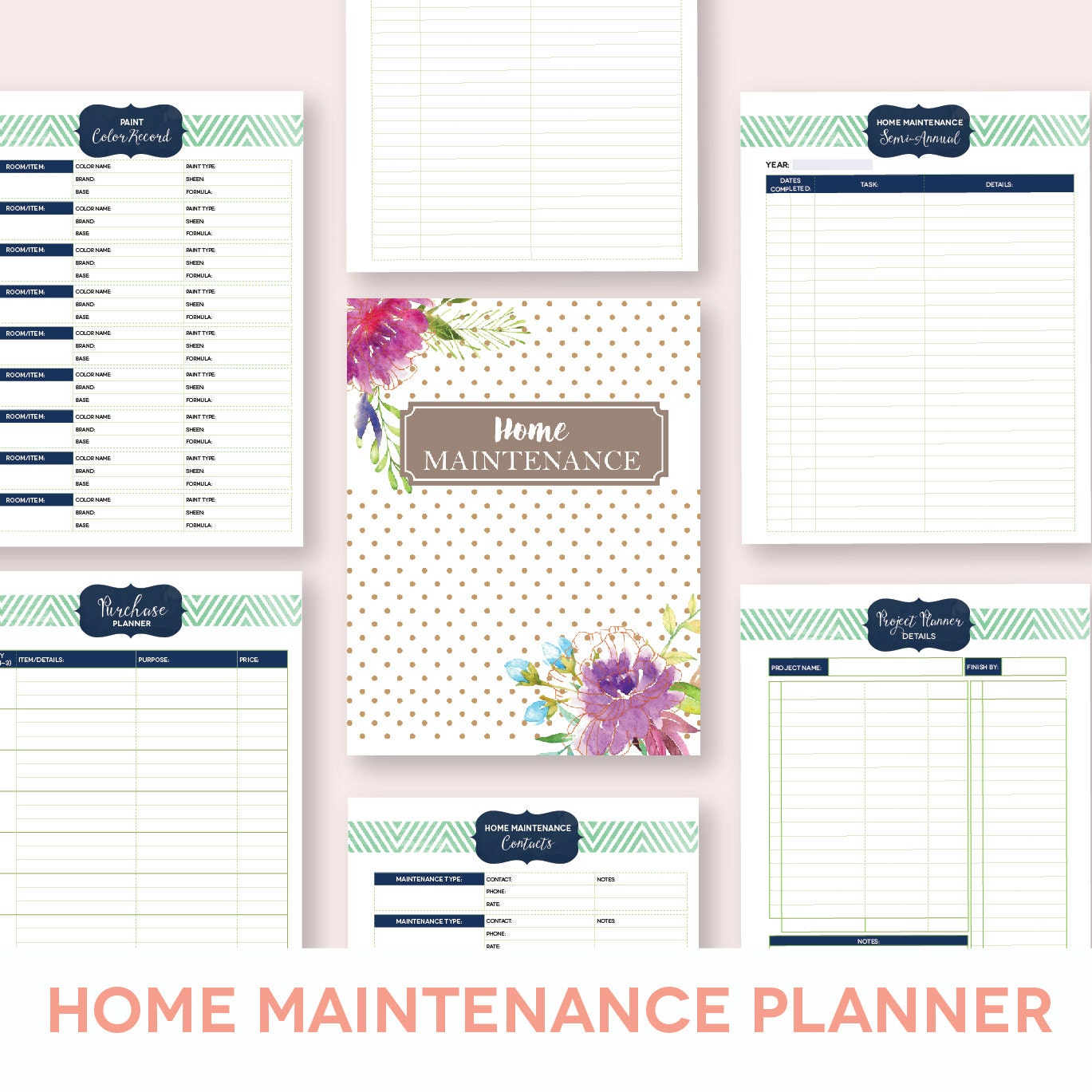 Home Management Binder Printables Planner Editable Letter
