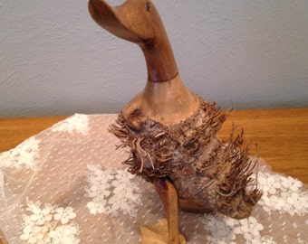 Wood Root Carved Duck Figure