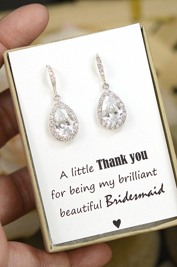 Gift For Bride From Bridesmaids Day Of Wedding : Wedding Jewelry Bridesmaid Gift Bridesmaid Jewelry Bridal Jewelry tear ...