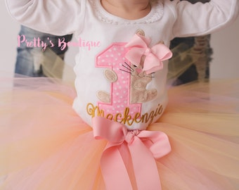 First Birthday Bodysuit or Shirt -- Bunny Birthday outfit- Easter Birthday-- Spring Birthday shirt -- 1st Birthday Shirt Bunny-- tutu--bow