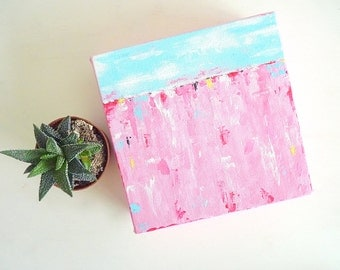 abstract seascape painting - abstract pink art - mini painting