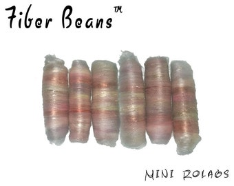 Mini Rolags - Fiber Beans - Music Box- spinning felting - merino wool silk tussah cultivated angelina sparkle brown pastel pink