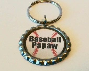 Unique Baseball Papaw Grandfather Metal Flattened Bottlecap Keychain Great Gift